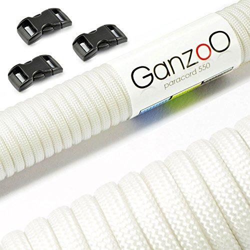 """Paracord 550 Starter-Set einfarbig mit 3 Klickverschlüssen für Armband, Knüpfen von Hundeleine oder Hunde-Halsband zum selber machen / Seil mit 4mm Stärke / Mehrzweck-Seil / Survival-Seil / mit 7 Kernsträngen / Parachute Cord belastbar bis 250kg (550lbs) / reißfestes Kernmantel-Seil / inkl. 3 Klickverschlüssenaus Kunststoff (3/8"""") / Erhältlich in vielen verschiedenen Farben, Marke Ganzoo (Weiß, 30 Meter)"""