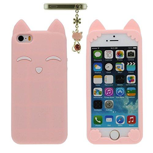 Apple iPhone 5 5S 5C / iPhone SE Coque Case Charmant Animal Renard Sourire Forme Serie Doux Silicone Mince Poids léger Etui avec 1 Métal pendentif - Noir rose