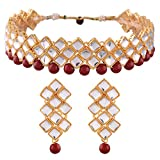 I Jewels Red Kundan And Beads Choker Necklace Set For Women