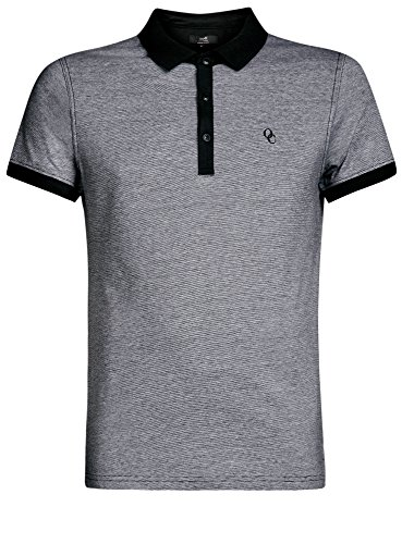 oodji Ultra Herren Poloshirt Basic mit Kontrastdetails Schwarz (2910S)