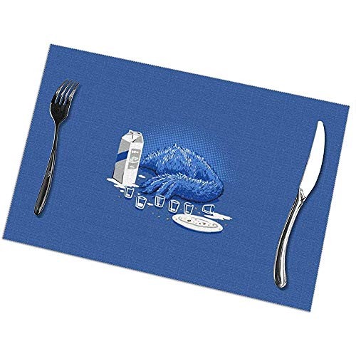 GuyIvan Hitzebeständige Tischsets 6er-Set Esstisch-Tischsets Cookie Monster Tischset rutschfest Waschbar