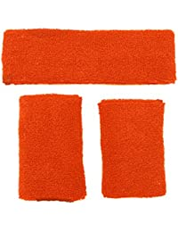 Meta-U Wholesale 5 Sets of Orange Thicken Cotton Sports Sweatbands-1Set Including 1Pce of Headband & 2Pcs of Wristbands