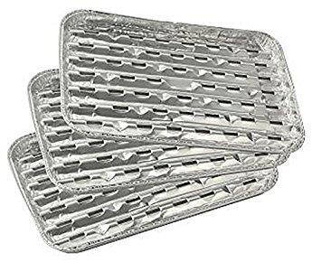 Fackelmann BBQ Barquette de Barbecue rectangulaire 33x23x2,5cm 3 pièces en Aluminium, Argent, 5 cm