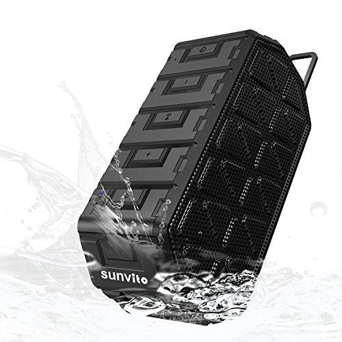 Sunvito Altavoz Portátil Bluetooth 4.0,Inalámbrico Resistente al Agua con Micrófono,Bajos Mejorados con un Sonido de 6W Desde Sus 2 Altavoces de 3W,Funciona con iPhon,iPad, Samsung,HTC y más,Negro
