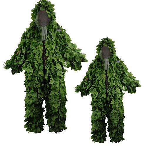ALLIWEI Blattförmiger Tarnanzug, Geely Suit PUBG-Scharfschütze-Reiner grüner Anzug Feldtrainings-Tarnungs-Kleidung im Freien Erwachsener 3D Blatt Stealth Ghillie-Anzug Militär CS Waldjagd-Anzug