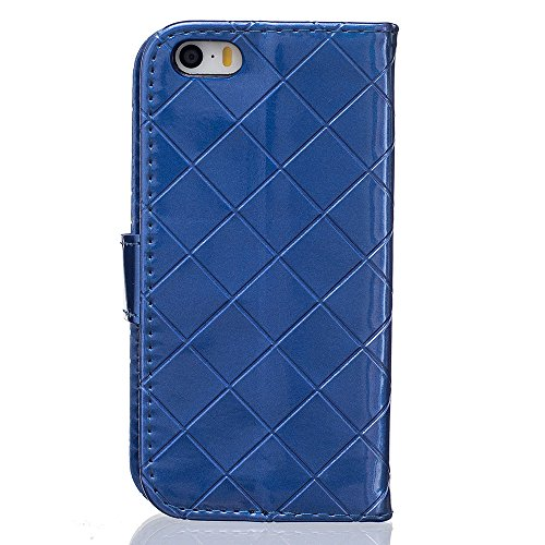 Rabat Style iPhone SE Coque Cuir Portefeuille ( Blanc ), Grille Apparence Mode Housse de Protection Apple iPhone 5 5S SE, Métal Magnétique Fermeture Carte Titulaire Matériel Flexible Slap-up Case Bleu