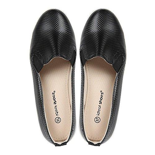 Ideal Shoes - Baskets slip-on effet tressé Danica Noir
