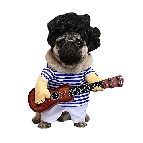 XDYFF Halloween Pet Kostüm EIN Aufrechter Pirat Als Hund, Eine Gitarre Als Witz,B,XL