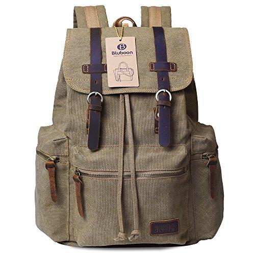 Imagen de bluboon vintage  de lona para hombre/mujer casual backpack canvas rucksack marrón