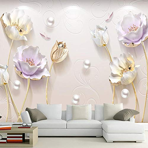JINFANGBZ Tapete Wandbild 3D Fototapete Tulpe Vliestapete Wandtapete Foto für Modernes Design der Fernseh Hintergrund Wand-Kunst-Deko 350cm x 256cm -