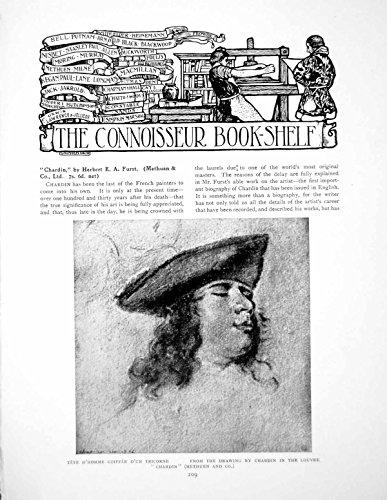 Drucken Sie Tricorn Seiten Bücherregal Chardin Tete Homme Hut-3 1911 (Tricorn Hut)