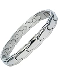 MPS® Special Offer Classic Stainless Steel Magnetic Bracelet with Fold-Over Clasp, Powerful 3,000 gauss Magnets + Free Gift Wallet.