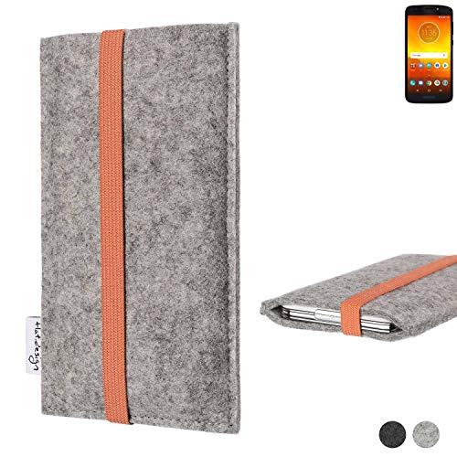 flat.design Handy Hülle Coimbra für Motorola Moto E5 Dual SIM - Schutz Case Tasche Filz Made in Germany hellgrau orange