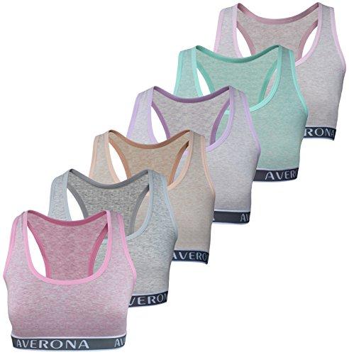6 Mädchen Bustier Baumwolle BH Sport Bra Trägertop BH Kinder Unterwäsche (164-172, Modell 1-6 STÜCK) (Mädchen Bh-bügel)