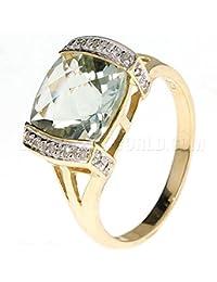 Vert Améthyste & Diamant Or 9ct Bague Coussin Bar