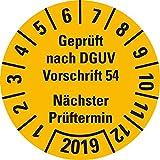 LEMAX® Prüfplakette Geprüft nach DGUV Vorschrift 54 2019,gelb,Dokufolie,Ø 30mm,18/Bogen