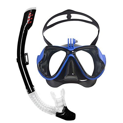 Maschera da snorkeling, Mikphone Maschera subacquea panoramica a 180 ° con sistema di tubi a secco e design antiappannamento antiappannamento per adulti (blue)