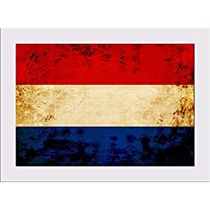 AZ Dutch Flag With A Vintage Look Canvas Painting White Frame 12.2 x 9inch
