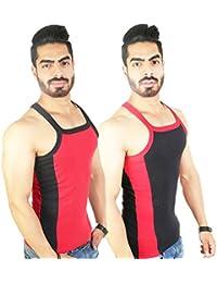 Zimfit Men's Gym Vest 112(Red_Black)