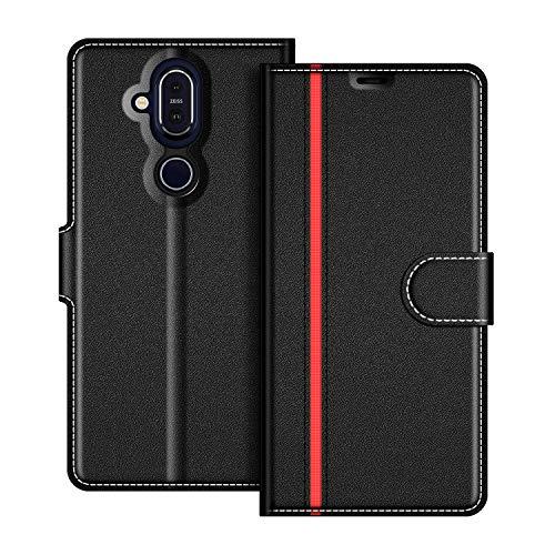 COODIO Nokia 8.1 Hülle Leder, Nokia 8.1 Lederhülle Ledertasche Wallet Handyhülle Tasche Schutzhülle mit Magnetverschluss/Kartenfächer für Nokia 8.1, Schwarz/Rot