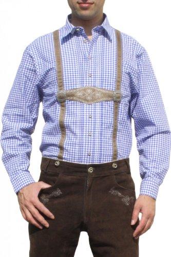 Trachtenhemd für Lederhosen mit Hosenträger-Imitat blau/kariert, Hemdgröße:3XL