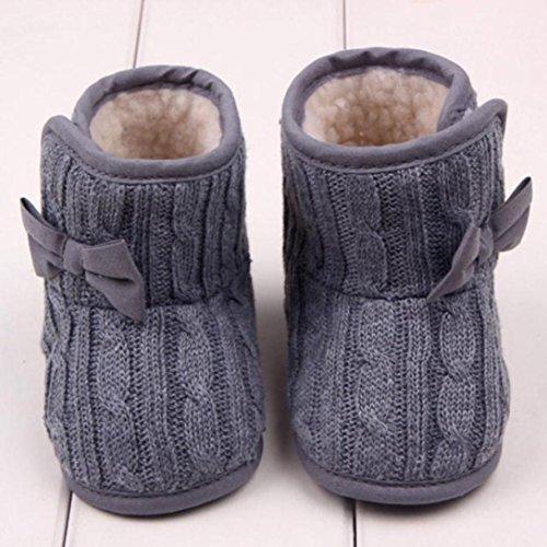 WalshK Baby Girl Doux Semelle Anti-Glissement Pré-Chaussure Chaussures Chaussures Chaussures à Neige Avec Bowknot Gris
