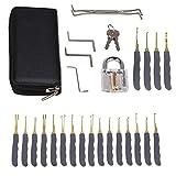 EMOTREE 24-tlg Dietriche Lockpicking Set Schlosser Dietriche Kit Übungsschloss + 2 Schlüsseln + 1 Transparent Vorhängeschloss