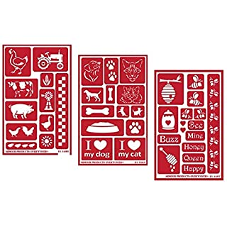 3 Armour Etch Over N Over Reusable Glass Etching Stencils Set | Farmhouse Animal, Pets, Bee Theme | Designs: Rooster, Chicken, Cow, Pig, Duck, Dog, Cat, Paw, Bumblebee, Honeycomb