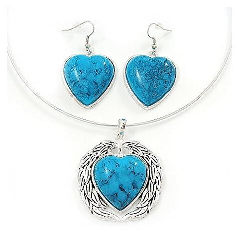 Turquoise 'Heart' Pendant Flex Wire Necklace & Drop Earrings Set