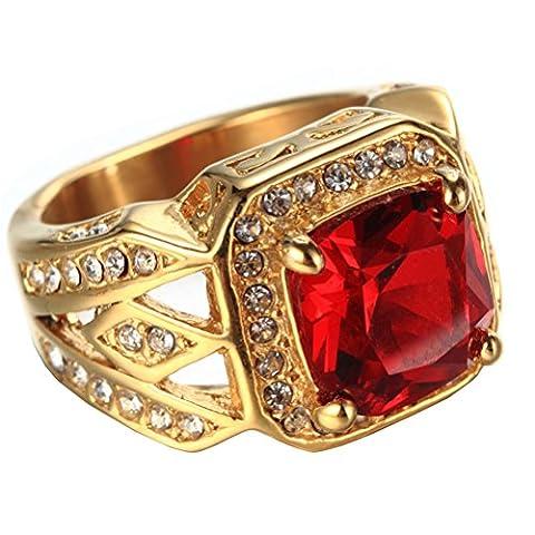 PAURO Unisex Edelstahl Vintage Square Rot Edelstein Inlay Ring Mit Small CZ Steine Vergoldet Größe 57