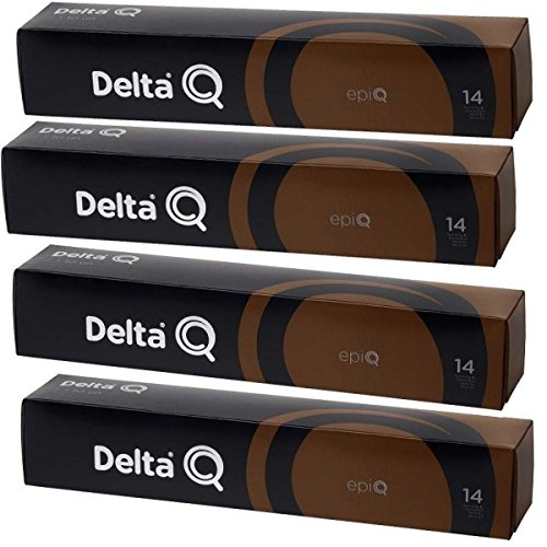 Compatibles con todas la cafeteras Delta Q(*) 4 Cajas de 10 unidades Café Muy intenso. Nivel 14. Mezcla de cafés africanos, Costa Marfil y Congo. Espresso con cuerpo