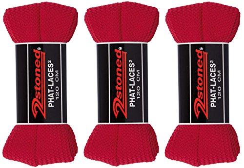 Original 2stoned Phat Laces Schnürsenkel 120cm lang und 3cm breit in 14 Farben Rot (3 Paar)