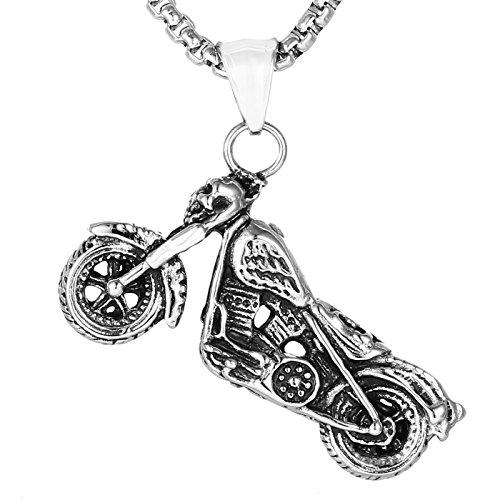 DonDon Herren Halskette Edelstahl und Motorrad Anhänger Edelstahl in einem Schmuckbeutel