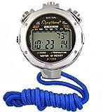 HaoYaa Digitale Cronometro in Metallo, Display a 2 Righe 10 Giri di Memoria Sport Split Timer Corsa Cronometro per Allenatori e Arbitri