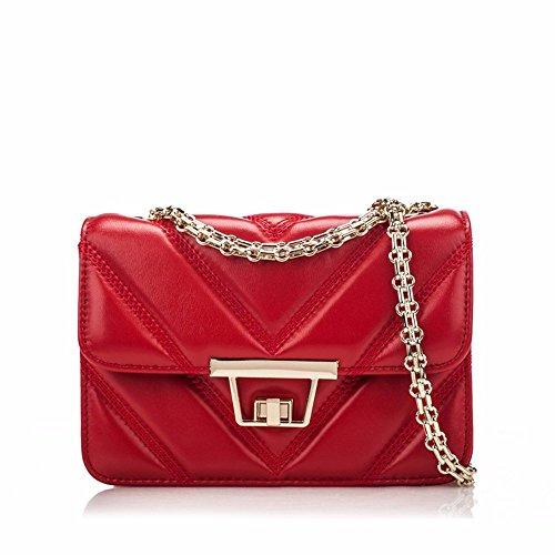 Borsetta In Pelle Con Pochette Piccola Catena Borsa Moda Pelle Di Pecora Mini Borsa, 21 * 8 * 14 Cm Rosso
