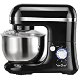 VonShef Electric Food Stand Mixer, Free 2 Year Warranty with Dough Hook, Beater, Whisk & Splash Guard - Black