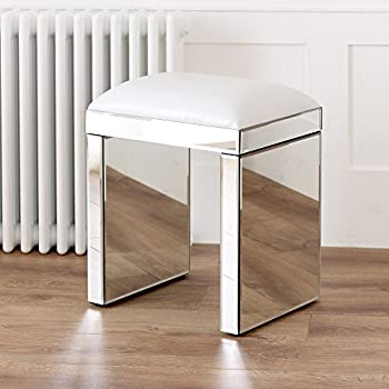 The Furniture Market Venetian Mirrored Dressing Table Set White Stool