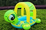 TOTOOSE Turtle Pattern Baby Swim Float Ring Inflatable Swimming Seat Rings with Sunshade Canopy