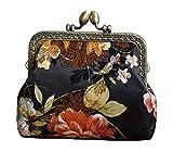 Borsa donna con fibbia, portamonete, borsa elegante con pochette, fiore nero
