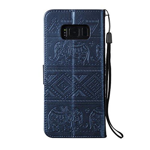 Für Samsung Galaxy S8 Plus Premium Leder Tasche, weiche PU + TPU geprägte Textur Flip Stand Case Cover mit Lanyard & Card Cash Holder ( Color : Blue ) Blue