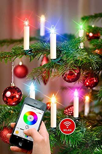 NEUHEIT - App gesteuerte Weihnachtsbaumkerzen kabellos Timer dimmbar Flacker-Modus 16,7 Millionen Farben GS Batterien WiFi - WLAN Weihnachtsbeleuchtung (10er Set)