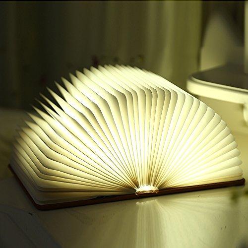 FMYXZ Color creativo cortical portátil LED libro luz encenderá luz USB carga lámpara plegable de mesa decorativo origami libro , appearance brown