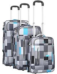 PURE Koffer-Set SPORTIV / Trolley klein-mittel-groß / Handgepäck / Weichgepäck / Reisekoffer / Superleicht / Vortasche / kariert / blau-grau-schwarz