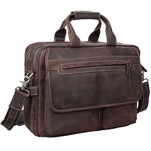 S-ZONE Herren Leder Aktentasche 16 Inch Laptop Tasche Handtasche Messenger Schultertasche
