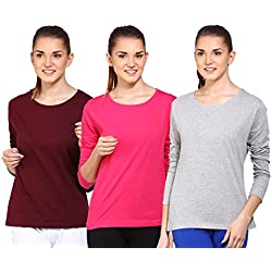Ap'pulse Women's Long sleeve T Shirt(Combo Pack of 3)