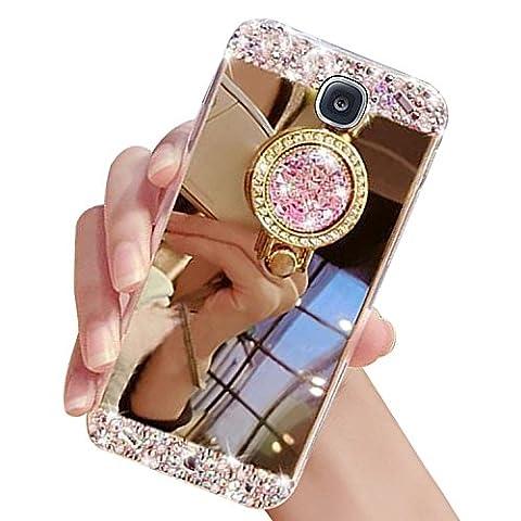 Mirror Hülle Spiegel Case für Samsung Galaxy S4 (GT-i9500 / i9505 LTE / i9502 Duo / Google Edition / S4 Value Edition GT-i9515), Sunroyal Luxury Cover mit Ring Fingerhalterung Ring Ständer Ring Holder Glänzend Glitzer Diamant Kristall Bling Bling Rückseite Bumper Schutzhülle Kratzfeste Dauerhaft Schock-Beweis Handyhülle für Samsung Galaxy S4 (GT-i9500 / i9505 LTE / i9502 Duo / Google Edition / S4 Value Edition