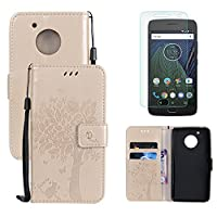 for Motorola Moto G5 Wallet Case and Screen Protector ,OYIME [Gold Cute Cat and Butterfly Tree] Design Leather Kickstand Magnetic Holster with Card Holder Full Body Protective Flip Cover