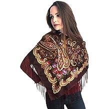 e885afbd94a6 Russisches aGATA foulard avec franges et fleurs élégant et de haute  qualité-rouge