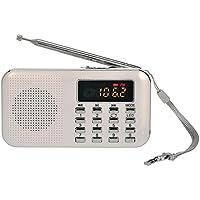 iMinker mini portátil de MP3 Radio AM / FM altavoz de medios digitales de la música del jugador de tarjeta del TF / Puerto USB con pantalla LED, la linterna de emergencia, de 3,5 mm para auriculares Jack (Blanco)