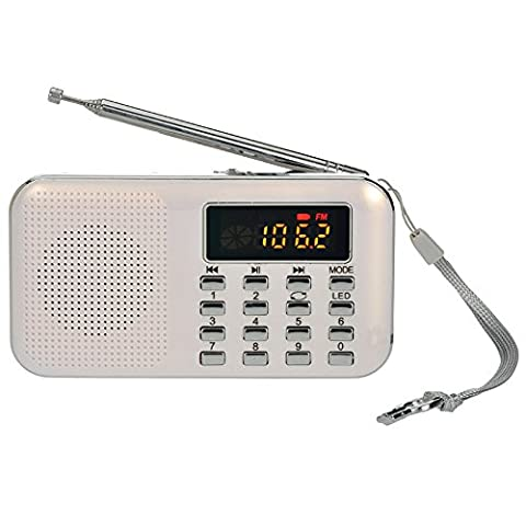 iMinker Mini Portable Digital AM/FM Radio Media Speaker MP3 Music Player Support TF Card/USB Port with LED Screen Display, Emergency Flashlight, 3.5mm Earphone Jack (White)